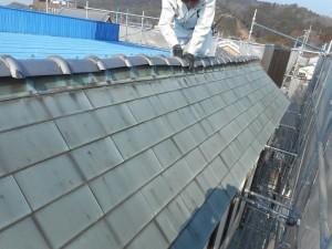 棟瓦のズレ補修