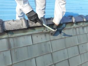 棟板金真鍮釘打ち補修