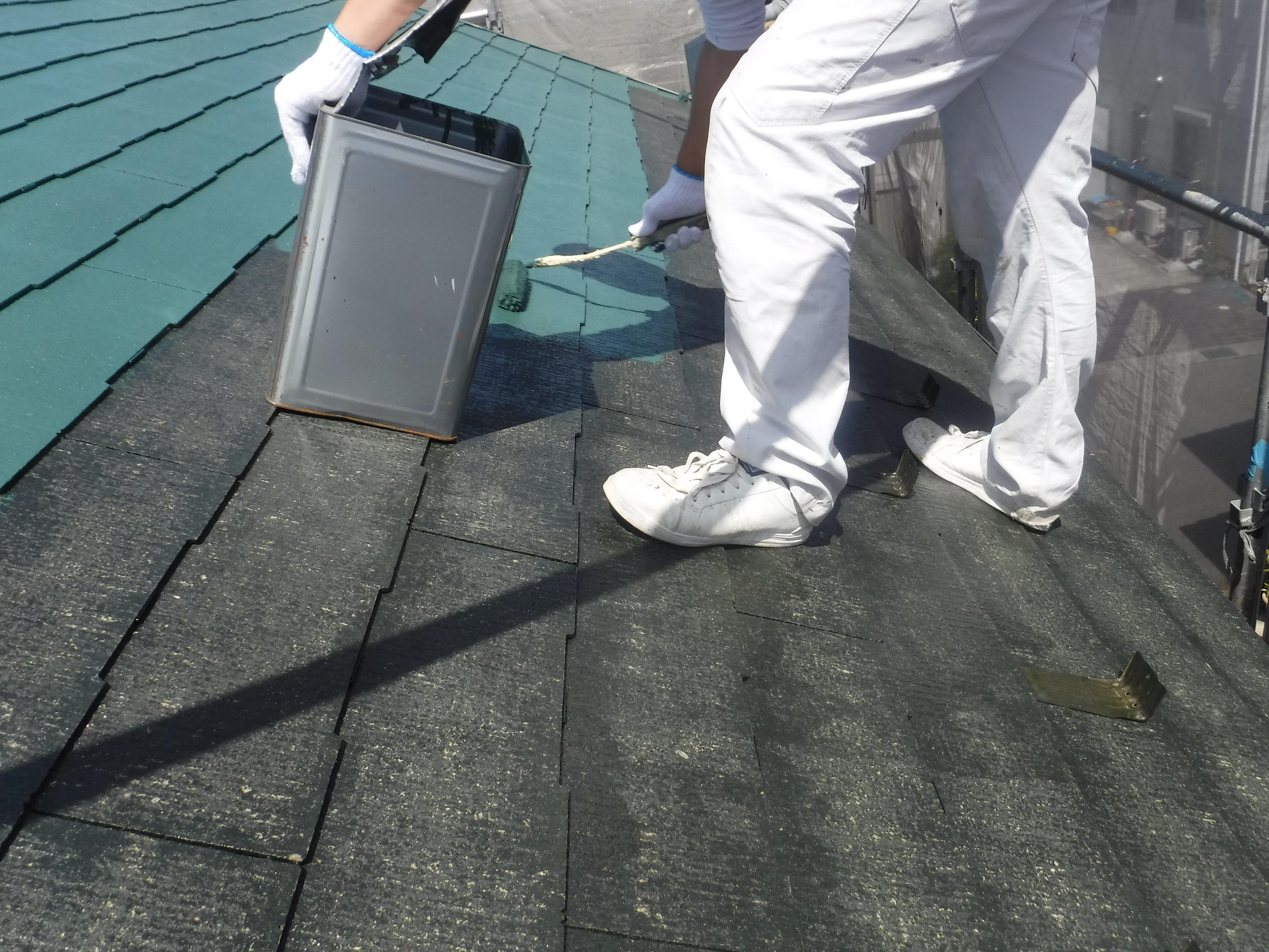 山王さま屋根上塗り1