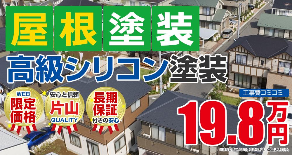 滋賀県野洲市の屋根塗装メニュー 高級シリコン塗装 19.8万円