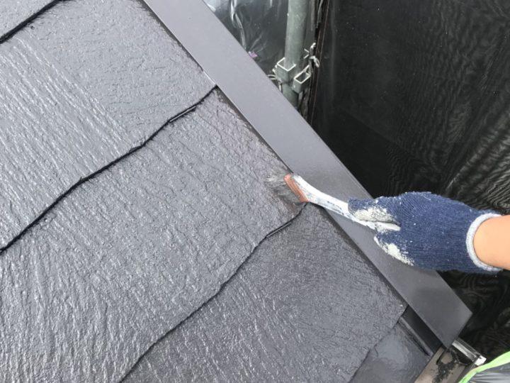 屋根上塗り2回目